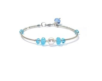 Swarovski Pearl Bracelet , Aquamarine Quartz Gemstone Bracelet, Swarovski Crystals , Gift For her
