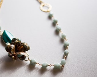 Green Amazonite flower necklace