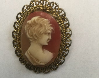 Vintage Victorian Revival Carved Shell Cameo of Woman