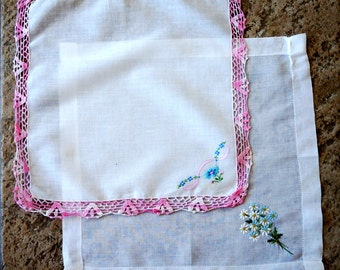 Vintage Wedding Handkerchiefs Spring Floral Embroidered Crochet Edging Pink Blue Green Set of Two