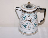 Vintage Enameled Birds Coffee Pot Tea