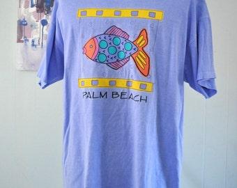 Beach Coverup Vintage Tee Palm Beach Fl Florida Tshirt Light Purple XL Tall One Size Ladies