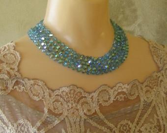 Gorgeous Vintage Azure Blue Crystal Shimmering Five Strand Necklace - Swarovski Crystal - Knotted - Multi Strand With J Hook Clasp