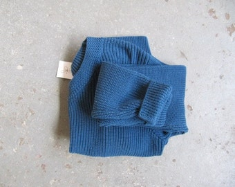 1990s vintage cropped indigo cotton sweater M