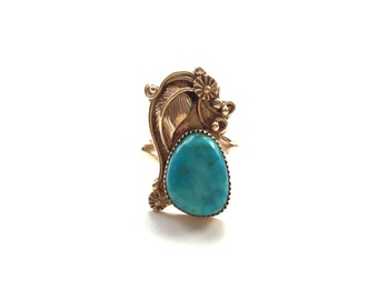 V I N T A G E // feather and flower / 14k yellow gold ring with turquoise / size 5.5