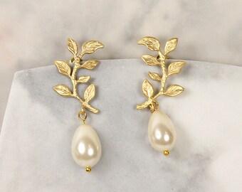 Liberty Bridal Earrings, Gold Leaf Earrings, Wedding Earrings, Pearl Drop Earrings, Bridesmaid Jewelry Gift, Gold Earrings, Wedding Jewelry