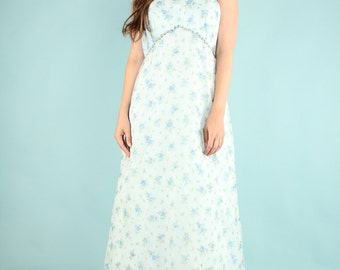 Vintage 70s Maxi Baby Blue Rose Floral Dress Ethereal Gown Sleeveless High Neckline Large