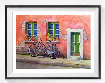 40 Urban bicycle prints Art print bicycle, Old door watercolor bike print bicycle aquarrelle print bikes in the city,