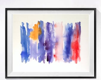 65 Cool Spectrom Abstract Watercolor Print / Modern art / Abstract painting / Fine art color field purple blue yellow red / Stripe artwork