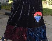 RESERVED Grateful Dead Cats Under the Stars Long Black Velvet Red Blue Sparkle Festival Hippie Shirt OOAK Patchwork