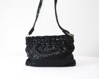 SALE...70s sequined purse. disco purse. black sequin bag
