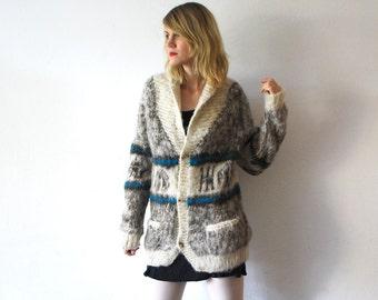 70s wool cardigan. knit coat. boho chunky knit cardigan - large
