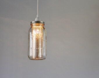 Half Gallon Mason Jar Pendant Lamp, Silver Sheet Metal Shade Insert, Hanging Mason Jar Pendant Light, BootsNGus Modern Lighting & Home Decor