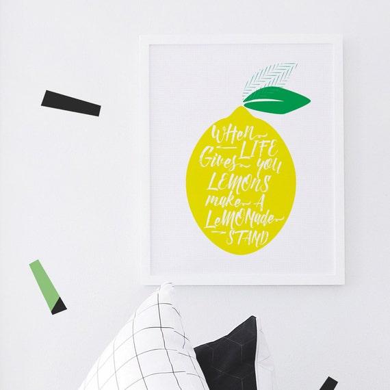 Lemon Wall Art, Yellow, Lemonade, Fruit Decor, Lemonade, Yellow Lemon, 8x10, 16x20, White Frame.  Lemon Print - Yellow - Kids Wall Art