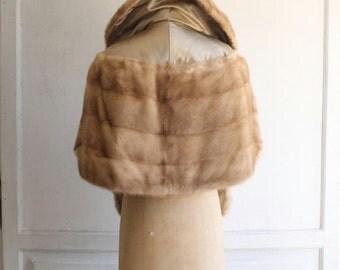 vintage 50s mink fur stole jacket honey blonde