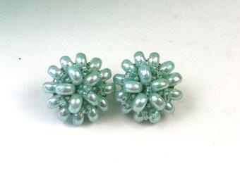 Vintage 50s Castlecliff Bead Earrings Aqua Plastic & Glass Handwired Bead Earrings Clip on Backs Signed