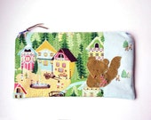"""Zipper Pouch, 5x9.25"""" in brown, green, blue, yellow, pink and cream woodland print with Handmade Felt SquirrelEmbellishment, Pencil Case"""