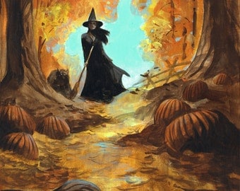 Mike Hoffman Spooky Scary Halloween Canvas Giclee Print THE WITCH WALK!