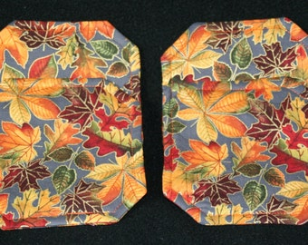 coasters, cloth, fall themed, fall leaves, square-mitered-corners