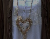 Hope Textile Art Necklaace, Handmade Fabric Heart Necklace, Shabby Chic Romantic Peach and Tan, Mixed Media, Wearable Art, Victorian