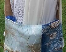 """Large Teal Blue and Brown Handmade Denim Patchwork Crossbody Bag, Messenger Bag,Handmade Shoulder Bag, """"Faith Is"""".Sling Bag, Christian Bag"""