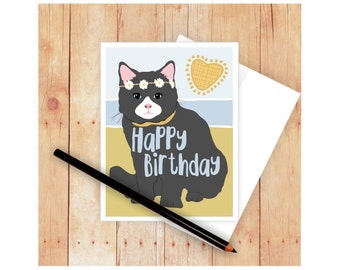 Happy Birthday Cat, Cat Card, Cat Greeting Card, Cat Lover Card, Hippie Card, Cat Lady, Cat Birthday, Cat Note Card, Cat Stationary