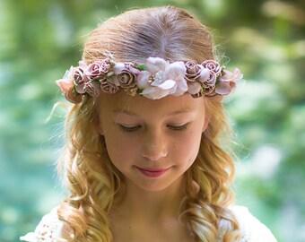 Flower Girl Hobo Headband, Champagne Dusty Rose Floral Headband, Halo, Flower Crown, Baby- Adult Headband, Wedding Headband, Hair Accessory