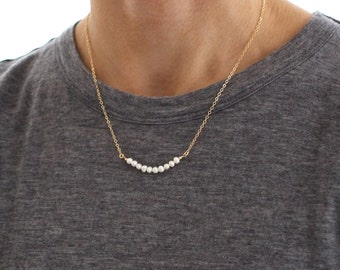 White Pearl Bead necklace - skinny beaded bar - delicate gold layering necklace