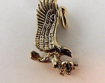 Sterling silver 3D Flying Eagle Charm, pendant