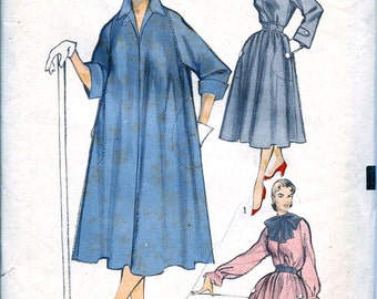 1950s  Advance Pattern 5823 * FABULOUS  Ladies  Duster Dress, Tent Dress, or Tunic with Ribbon Bow * FACTORY FOLDED * Bust 32 to 34