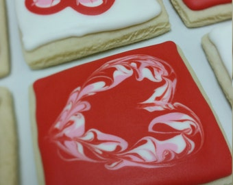 Square Swirls and Hearts Cookie Package