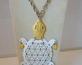 1950s Big Articulated Turtle Necklace MOD