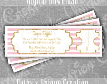 INSTANT DIGITAL DOWNLOAD Baby Girl Diaper Raffle Tickets Baby Shower Game Pink and Gold Printable Letter A4