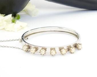 Vintage Silver Pearl Bangle Bracelet