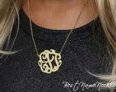 Monogram Necklace - Gold Monogram Necklace - Interlocking Monogram - Best Monogram Necklace - Personalized Jewelry - Lace Monogram Necklace