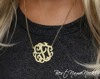 Monogram Necklace - Gold Monogram Necklace - Interlocking Monogram - Best Monogram Necklace - Personalized Jewelry - Lace Monogram Necklace