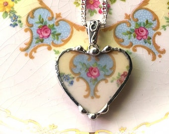 Broken china jewelry - heart pendant - broken china necklace - antique china pink rose on blue