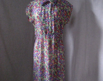 Vintage Joy Gordon sheer georgette secretary's dress. Floral polyester. Size 8.