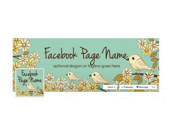 SALE 30% OFF Timeline Cover and Profile Picture - Facebook Timeline Cover Facebook Cover - Social Media Cover - Birds On Branches