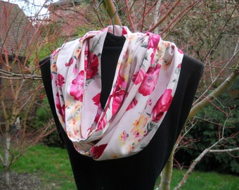 Infinity Scarf, Circle Scarf, Silky Infinity Scarf, All Season Scarf in Red-Pink Floral Pattern