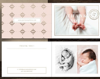 Photographer Thank You Card Templates - Newborn Photography Branding - Photoshop Marketing Templates - Design By Bittersweet