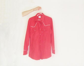 levi strauss 1980 Olympics western cowboy shirt . wild west red with white piping .mens large.extra large.xl .sale