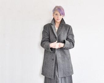 gray tweed overcoat . dapper oversized heavyweight jacket .large.extra large