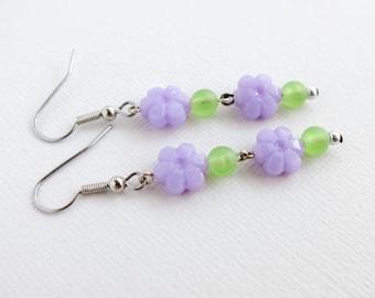 Pastel Lilac Purple Flower with Matte Lime Green Beaded Earrings - Long Dangle Earrings - Acrylic Earrings - A-145