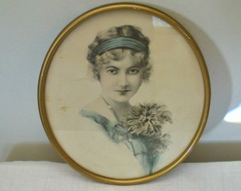 Antique Vintage Oval Frame with Print Portrait of Young Woman