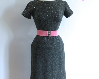 Fab 50s Vintage Wiggle Pencil Dress , 1950s Dark Grey Dress with Pink and Turquoise Fleck and Rhinestones SM