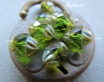 NEW OLIVINE TURBINES . Czech Picasso Glass Beads . 10 by 8 mm (10 beads)