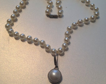 Mother of Pearl Sterling Pendant Faux Pearl Necklace Knotted