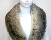 Vintage Gray-Brown Real Fur Collar