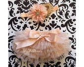 Baby Girl BLOOMER and HEADBAND SET- Champagne and Gold sparkle Ruffle Bum Baby Bloomer with Satin Bow , Baby girl Headbands ,Diaper Cover
